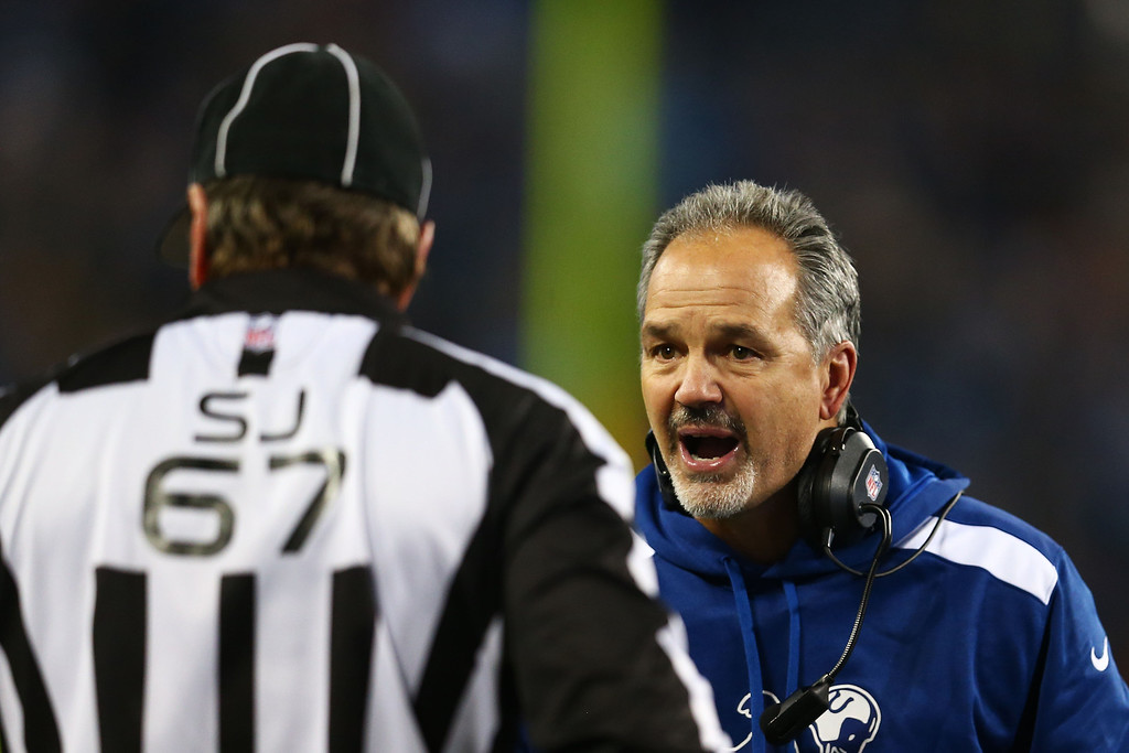 . NASHVILLE, TN - NOVEMBER 14:  Head coach Chuck Pagano of the Indianapolis Colts argues a second quarter call with field judge Doug Rosenbaum #67 at LP Field on November 14, 2013 in Nashville, Tennessee.  (Photo by Andy Lyons/Getty Images)