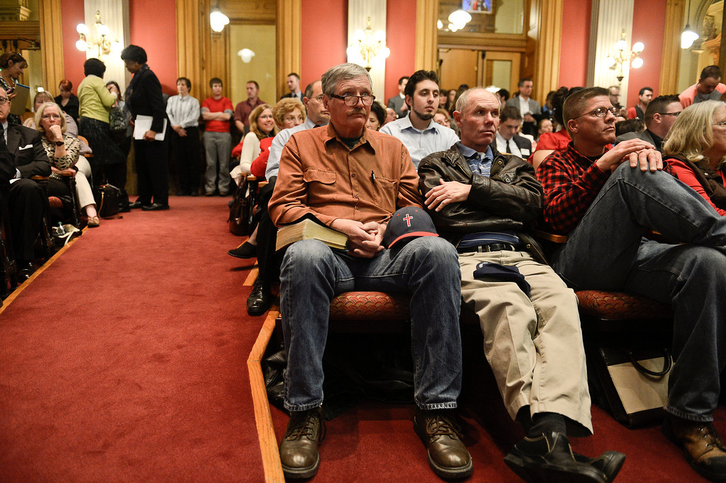 . Denver, CO. - January 23: Ken Scott of Grand listens as  the Senate Judiciary Committee hears testimony on Senate Bill 11 at the Denver State Capitol. Scott is against the bill would allow gay couples to form civil unions.  Denver, Colorado January 23, 2013. (Photo By Joe Amon / The Denver Post)