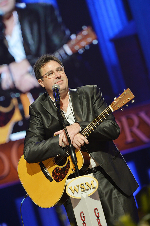 . Country musician Vince Gill performs at the funeral service for George Jones at The Grand Ole Opry on May 2, 2013 in Nashville, Tennessee.  (Photo by Rick Diamond/Getty Images for GJ Memorial)