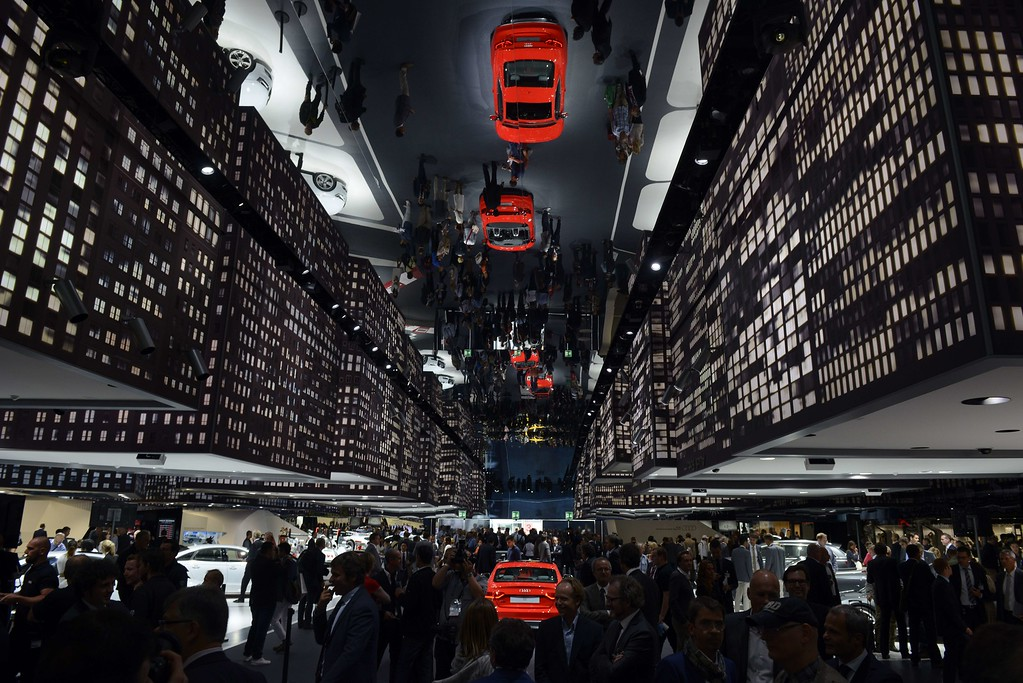 . Audi cars are reflected in a mirror at the booth of Audi during the media day of the IAA (Internationale Automobil Ausstellung) international motor show in Frankfurt am Main, western Germany, on September 10, 2013.      AFP PHOTO / JOHANNES  EISELE/AFP/Getty Images