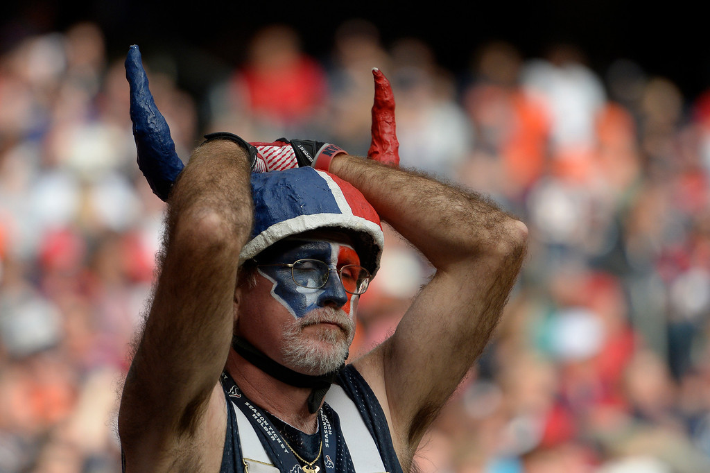 . Houston Texans fan reacts after the Denver Broncos scored during the fourth quarter December 22, 2013 at Reliant Stadium. (Photo by John Leyba/The Denver Post)