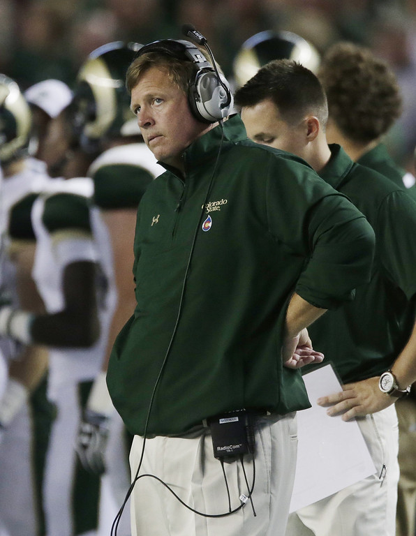 . Colorado State coach Jim McElwain watches from the sideline during the first half of an NCAA college football game against Alabama in Tuscaloosa, Ala., Saturday, Sept. 21, 2013. (AP Photo/Dave Martin)