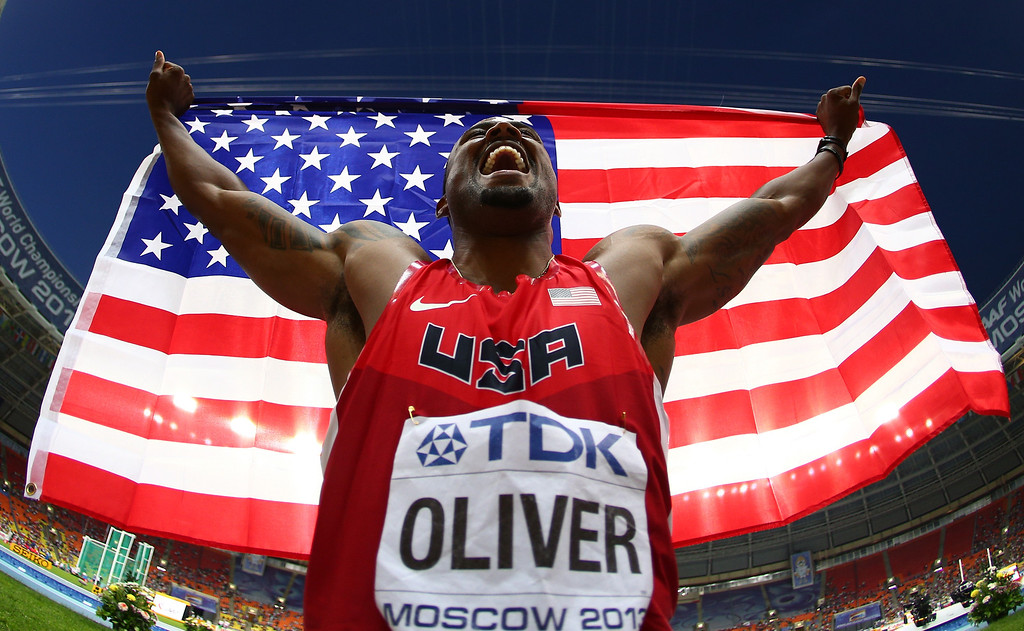 . David Oliver of the United States celebrates winning gold in the Men\'s 110 meters hurdles final during Day Three of the 14th IAAF World Athletics Championships Moscow 2013 at Luzhniki Stadium on August 12, 2013 in Moscow, Russia.  (Photo by Paul Gilham/Getty Images)