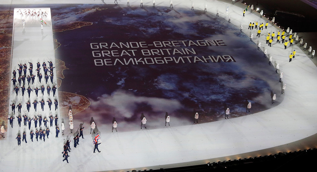 . The Great Britain team is introduced during the opening ceremony of the 2014 Winter Olympics in Sochi, Russia, Friday, Feb. 7, 2014. (AP Photo/David J. Phillip )