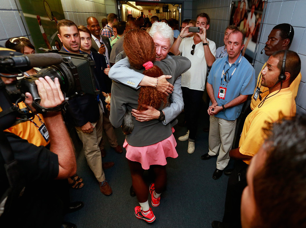 . Former President Bill Clinton congratulates Serena Williams of the United States after her women\'s singles final victory on Day Fourteen of the 2013 US Open at the USTA Billie Jean King National Tennis Center on September 8, 2013 in New York City.  (Photo by Chris Trotman/Getty Images for the USTA)