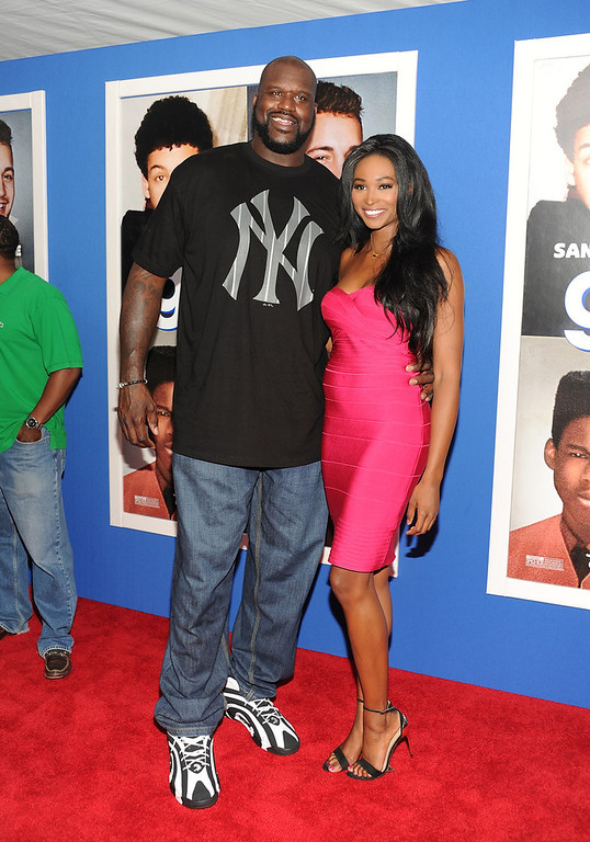 ". Retired basketball player Shaquille O\'Neal and former Miss USA, Nana Meriwether attend the premiere of ""Grown Ups 2\"" at the AMC Loews Lincoln Square on Wednesday, July 10, 2013 in New York. (Photo by Evan Agostini/Invision/AP)"