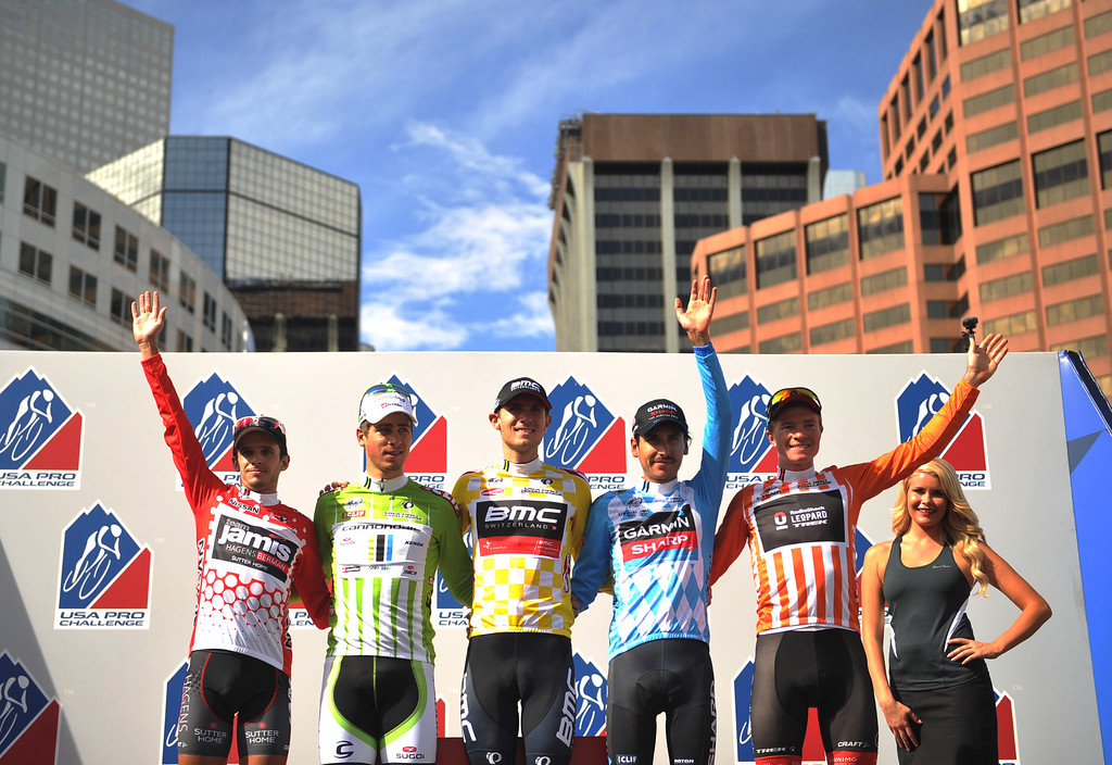 . From left, King of Mountain Matt Cooke of Jasmin-Hagens, Sprint leader Peter Sagan of Cannondale Pro Cycling Team, Race Leader Tejay Van Garderen of BMC Racing Team, Best Young Rider Lachlan David Morton of Team Garmin-Sharp and Most Courageous rider Benjamin King of RadioShack celebrate finishing the 2013 USA Pro Challenge race in Denver, Colorado on August 25, 2013. (Photo by Hyoung Chang/The Denver Post)
