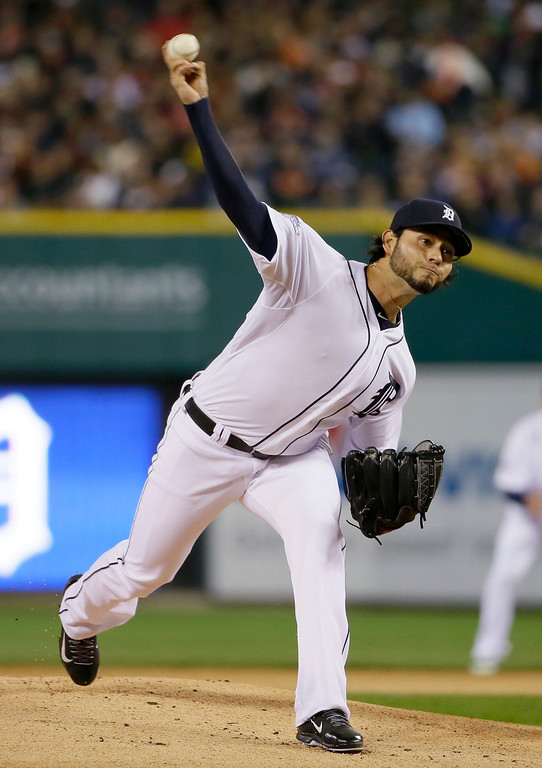 . Detroit Tigers starting pitcher Anibal Sanchez throws in the first inning during Game 5 of the American League baseball championship series against the Boston Red Sox Thursday, Oct. 17, 2013, in Detroit. (AP Photo/Matt Slocum)