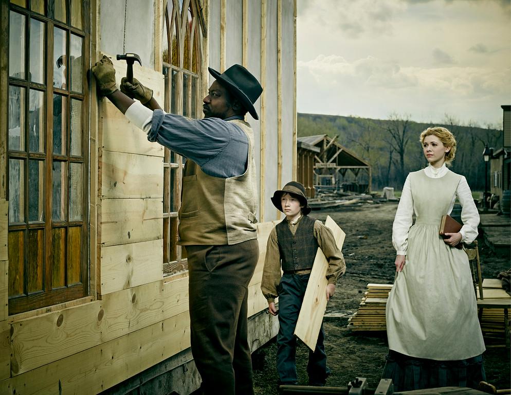 ". Dohn Norwood as Psalms, Tayden Marks as Ezra and Kasha Kropinski as Ruth in AMC\'s \""Hell On Wheels\"" Season 4.  (Photo by James Minchin III/AMC)"