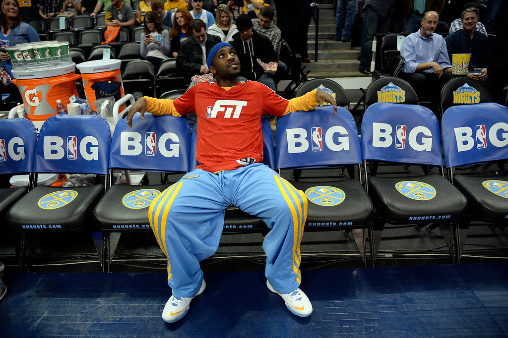 . Denver Nuggets point guard Ty Lawson (3) relaxes before their game against the Oklahoma City Thunder January 9, 2014 at Pepsi Center. (Photo by John Leyba/The Denver Post)