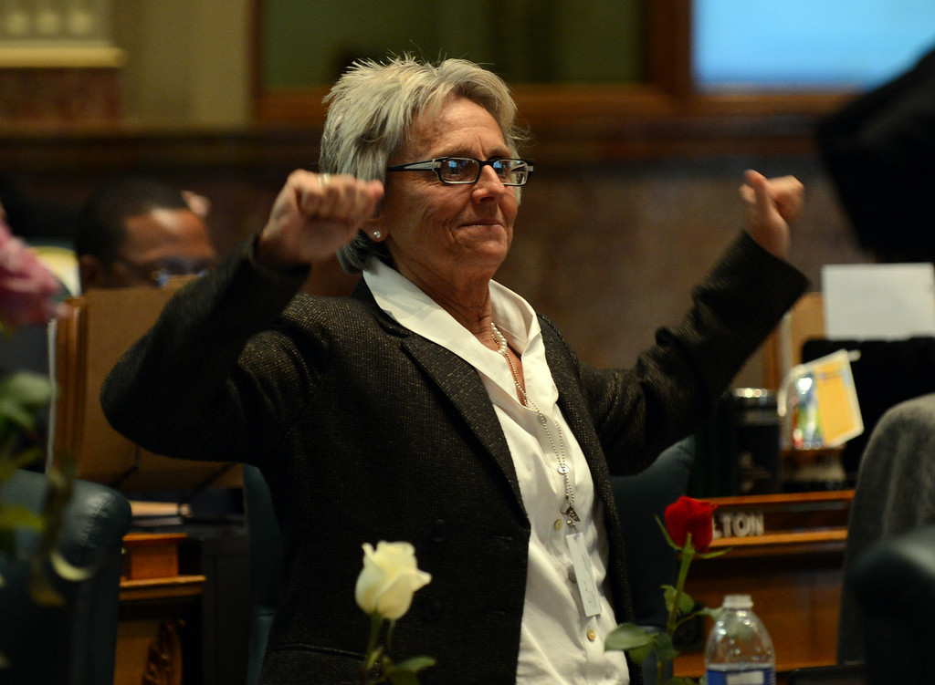 . DENVER, CO. - FEBRUARY 15: Joann Ginal, D-Fort Collins, reacted after passing gun control bills at House of Representatives chambers in Colorado State Building February 15, 2013. Denver, Colorado. Members of the Colorado House debate four gun-control bills in the House chamber. (Photo By Hyoung Chang/The Denver Post)