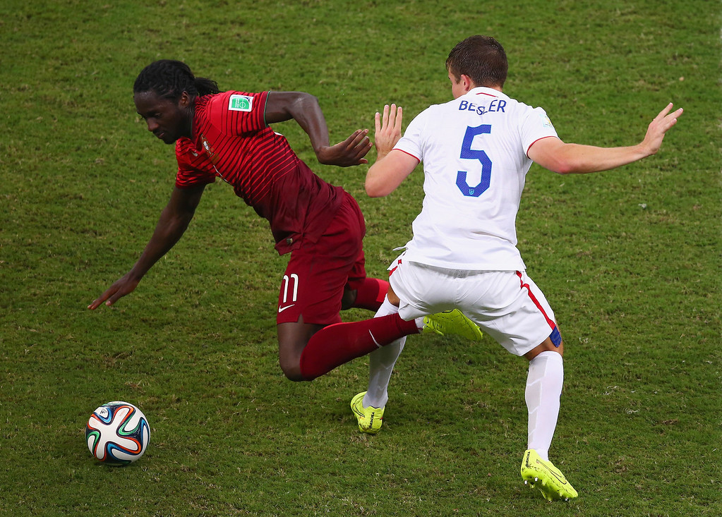 . Eder of Portugal and Matt Besler of the United States compete for the ball during the 2014 FIFA World Cup Brazil Group G match between the United States and Portugal at Arena Amazonia on June 22, 2014 in Manaus, Brazil.  (Photo by Elsa/Getty Images)