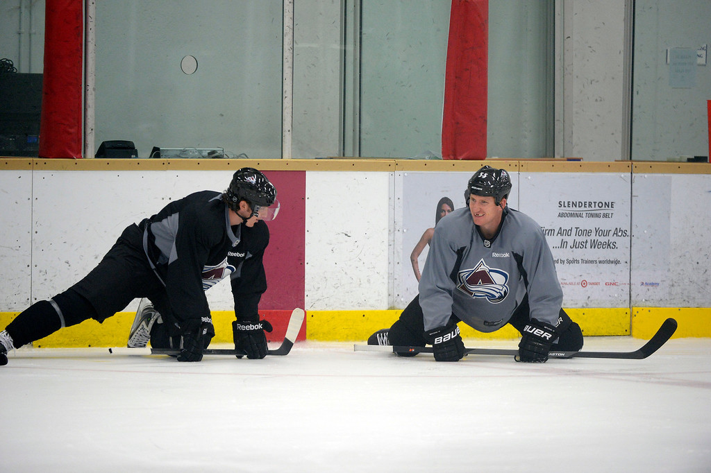 . Colorado Avalanche C Matt Duchene (9) talks with Colorado Avalanche LW Cody McLeod (55) during practice September 9, 2013 at Family Sports Ice Arena. (Photo By John Leyba/The Denver Post)