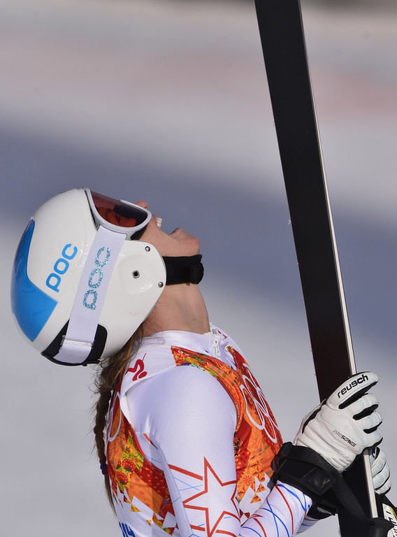 . US skier Julia Mancuso reacts as she arrives in the finish area after the Women\'s Alpine Skiing Super Combined Downhill at the Rosa Khutor Alpine Center during the Sochi Winter Olympics on February 10, 2014.     AFP PHOTO / DIMITAR DILKOFF/AFP/Getty Images