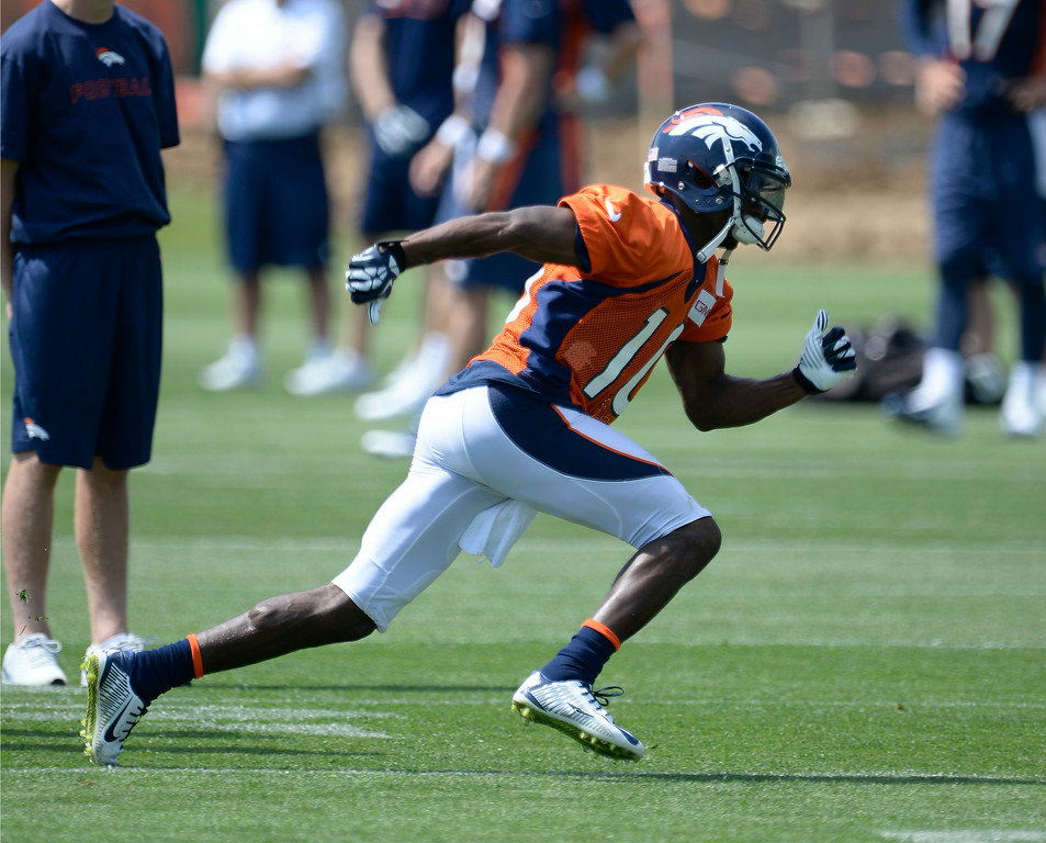 . Denver Broncos wide receiver Emmanuel Sanders (10) sprints during drills  on day two of the Denver Broncos 2014 training camp July 25, 2014 at Dove Valley. (Photo by John Leyba/The Denver Post)