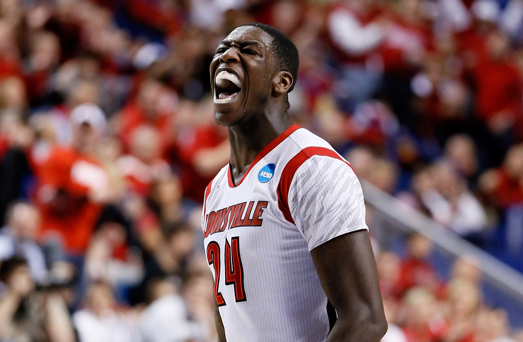 . LEXINGTON, KY - MARCH 23:  Montrezl Harrell #24 of the Louisville Cardinals reacts after a play against the Colorado State Rams in the first half during the third round of the 2013 NCAA Men\'s Basketball Tournament at Rupp Arena on March 23, 2013 in Lexington, Kentucky.  (Photo by Kevin C. Cox/Getty Images)