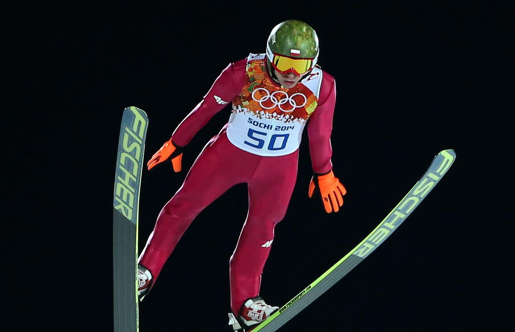. Kamil Stoch of Poland in action during the 1str round of the Large Hill Individual Ski Jumping event at the Sochi 2014 Olympic Games, Sochi, Russia, 15 February 2014.  EPA/GRZEGORZ MOMOT