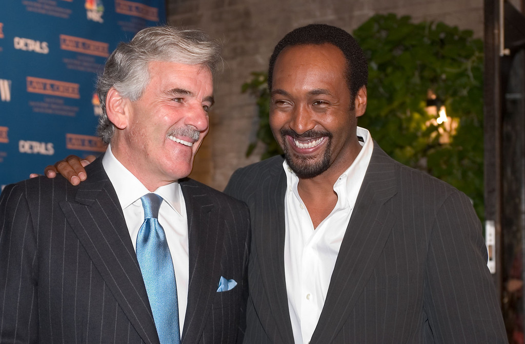". (L-R) Dennis Farina and Jesse L. Martin attend the party for cast members of all three ""Law & Order\"" shows at One Little 12th Street restaurant on September 21, 2004 in New York City.  (Photo by Fernando Leon/Getty Images)"