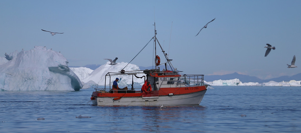 . A fishing boat navigates past icebergs on July 20, 2013 in Ilulissat, Greenland.  (Photo by Joe Raedle/Getty Images)