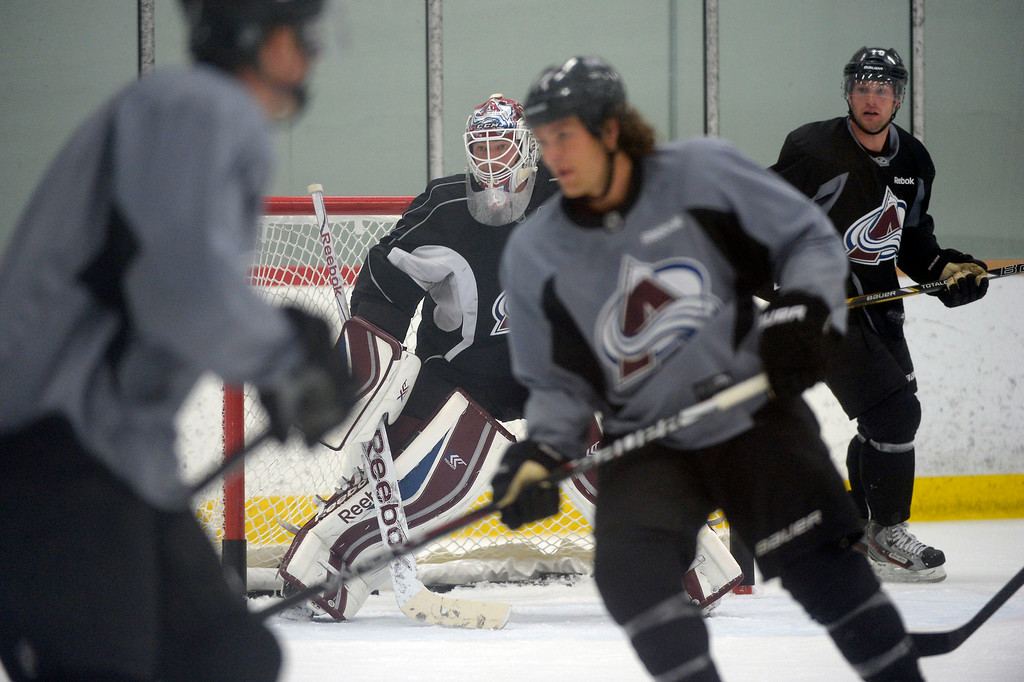 . olorado Avalanche G J.S. Giguere (35) in goal during practice September 10, 2013 at Family Sports. (Photo By John Leyba/The Denver Post)