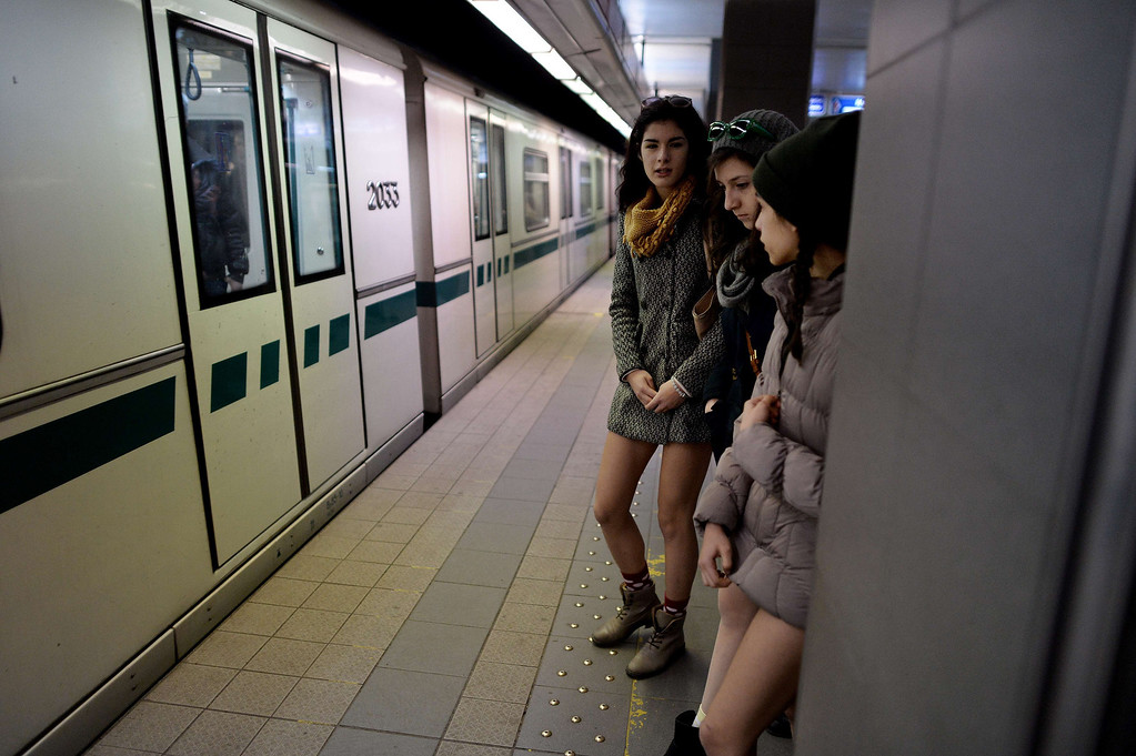 . People in underwear wait for a train in the Sofia City subway as they take part in the 2014 No Pants Subway Ride on January 12, 2014 in the Bulgarian capital. Started by Improv Everywhere, the goal is for riders to get on the subway train dressed in normal winter clothes (without pants) and keep a straight face.   DIMITAR DILKOFF/AFP/Getty Images