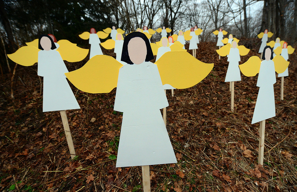 . Twenty seven angel wood cut-outs are set up on hillside in memory to the victims of an elementary school shooting in Newtown, Connecticut, December 16, 2012.  A young gunman slaughtered 20 small children and six teachers on December 14,2012 after walking into a school in an idyllic Connecticut town wielding at least two sophisticated firearms. He also killed his mum and himself. EMMANUEL DUNAND/AFP/Getty Images