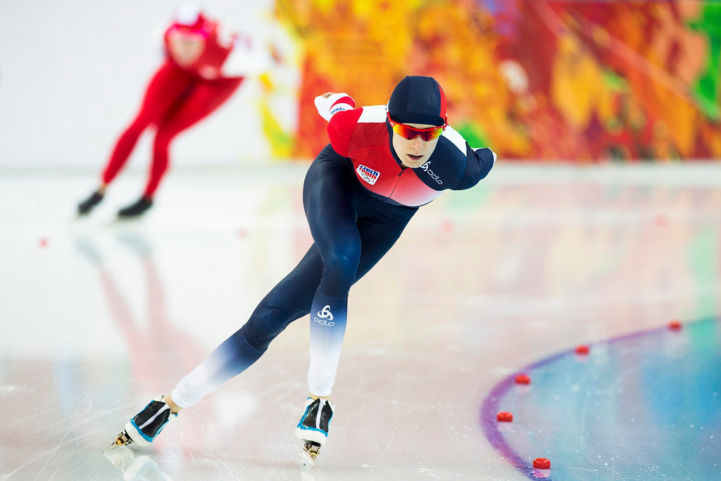 . Silver medallist Martina Sablikova of the Czech Republic in action during the women\'s 3000m Speed Skating event in the Adler Arena at the Sochi 2014 Olympic Games, Sochi, Russia, 09 February 2014.  EPA/VINCENT JANNINK