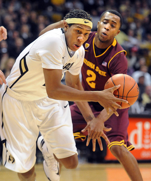 . Xavier Johnson of CU drives past Chris Colvin of ASU during the first half of the February 16th, 2013 game in Boulder. Cliff Grassmick / February 16, 2013