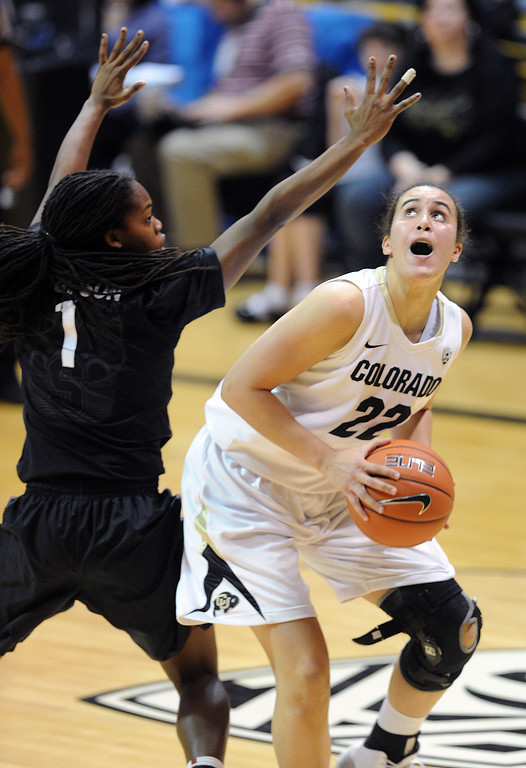 . Haley Smith of CU goes up on Alex Green of Stanford during the second half of the January 12, 2014 game in Boulder. Cliff Grassmick/Daily Camera
