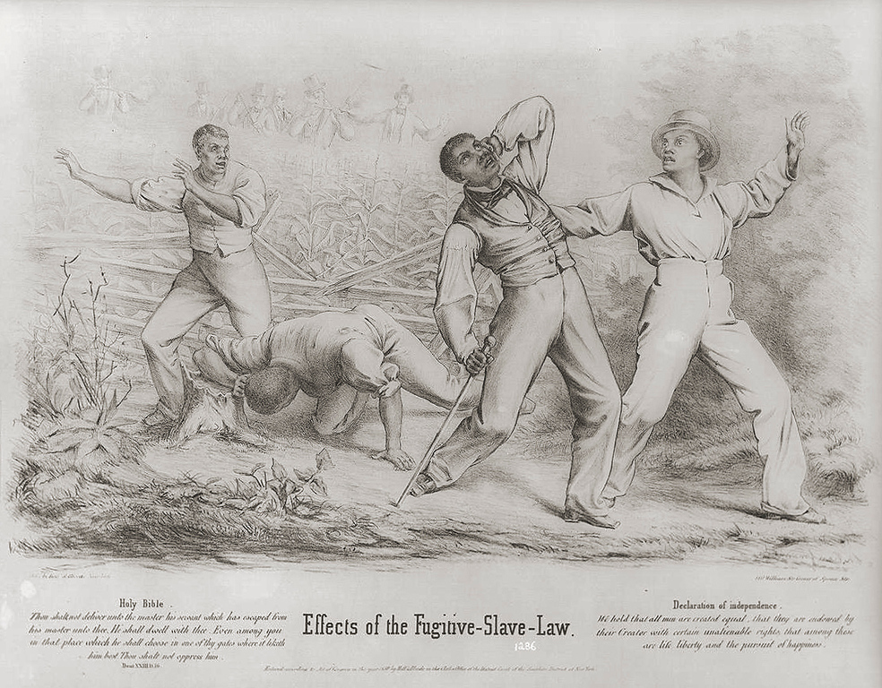 """. An impassioned condemnation of the Fugitive Slave Act passed by Congress in September 1850, which increased federal and free-state responsibility for the recovery of fugitive slaves. The law provided for the appointment of federal commissioners empowered to issue warrants for the arrest of alleged fugitive slaves and to enlist the aid of posses and even civilian bystanders in their apprehension. The print shows a group of four black men--possibly freedmen--ambushed by a posse of six armed whites in a cornfield. One of the white men fires on them, while two of his companions reload their muskets. Two of the blacks have evidently been hit; one has fallen to the ground while the second staggers, clutching the back of his bleeding head. The two others react with horror. Below the picture are two texts, one from Deuteronomy: \""""Thou shalt not deliver unto the master his servant which has escaped from his master unto thee. He shall dwell with thee. Even among you in that place which he shall choose in one of thy gates where it liketh him best. Thou shalt not oppress him.\"""" The second text is from the Declaration of Independence: \""""We hold that all men are created equal, that they are endowed by their Creator with certain unalienable rights, that among these are life, liberty and the pursuit of happiness.\"""" The print is unusually well drawn and composed for a political print of the period. The handling of both the lithographic technique and the figures betray particular skill. New York : Publ. by Hoff & Bloede, 1850.  Library of Congress"""