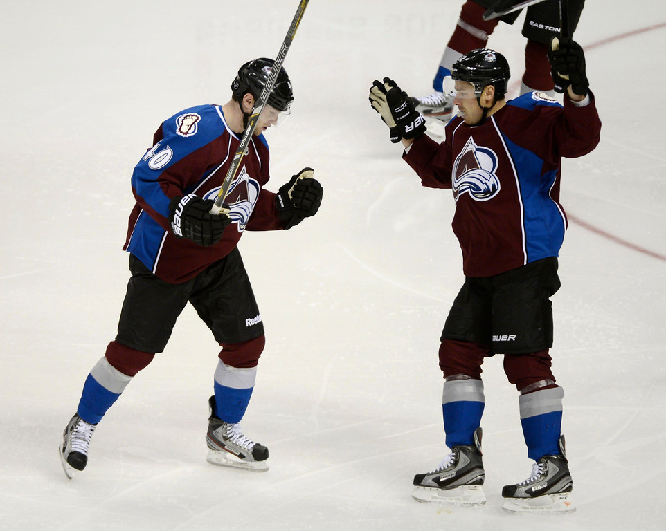 . DENVER, CO. - FEBRUARY 11: Mark Oliver (40) of the Colorado Avalanche celebrates his goal with Chuck Kobasew (12) in the second period against the Phoenix Coyotes February 11, 2013 at Pepsi Center.(Photo By John Leyba/The Denver Post)