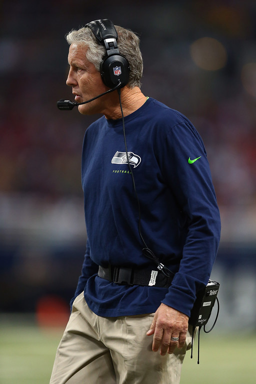 . Head coach Pete Carroll of the Seattle Seahawks looks on during the NFL game against the St. Louis Rams at Edward Jones Dome on October 28, 2013 in St Louis, Missouri.  (Photo by Andy Lyons/Getty Images)