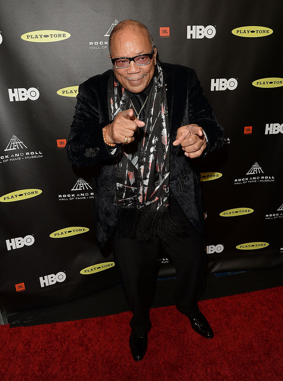. Honoree Quincy Jones arrives at the 28th Annual Rock and Roll Hall of Fame Induction Ceremony at Nokia Theatre L.A. Live on April 18, 2013 in Los Angeles, California.  (Photo by Jason Merritt/Getty Images)