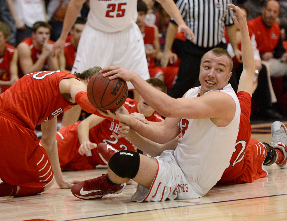 . Chaparral\'s Mitch Parsons (42) scrambles for a loose ball against Brighton during the first quarter February 27, 2013. (Photo By John Leyba/The Denver Post)