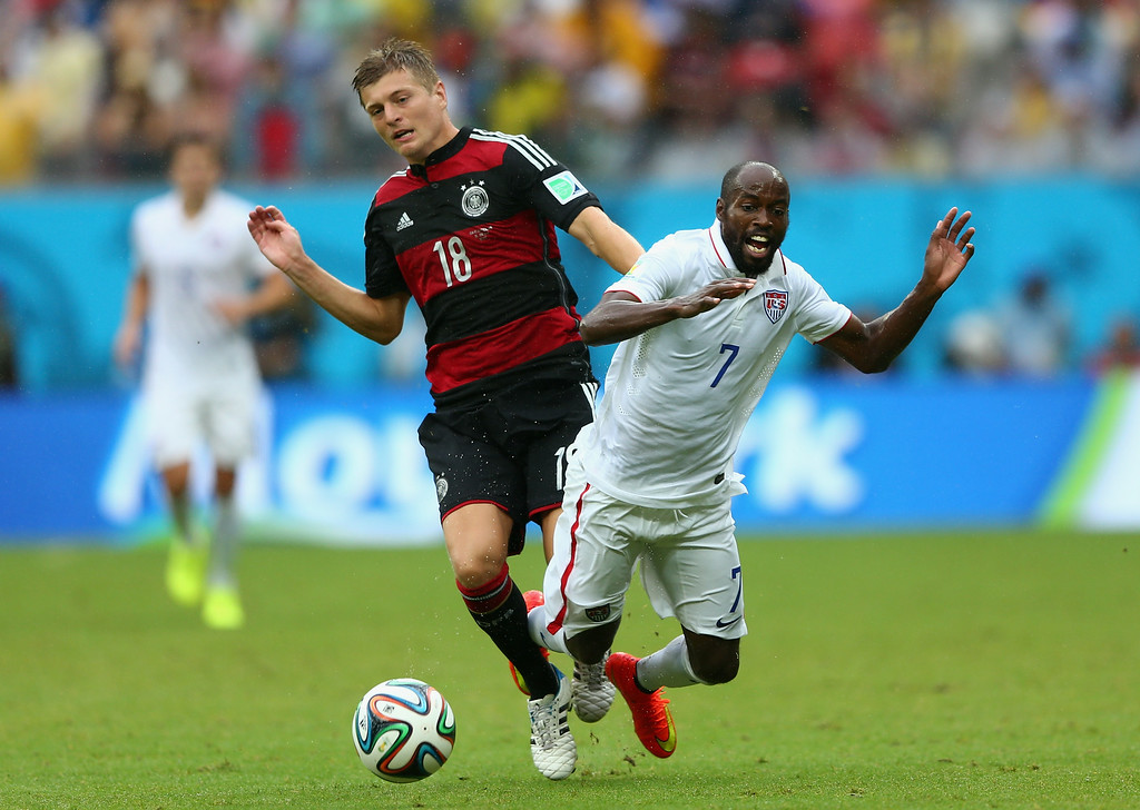 . Toni Kroos of Germany challenges DaMarcus Beasley of the United States during the 2014 FIFA World Cup Brazil group G match between the United States and Germany at Arena Pernambuco on June 26, 2014 in Recife, Brazil.  (Photo by Michael Steele/Getty Images)