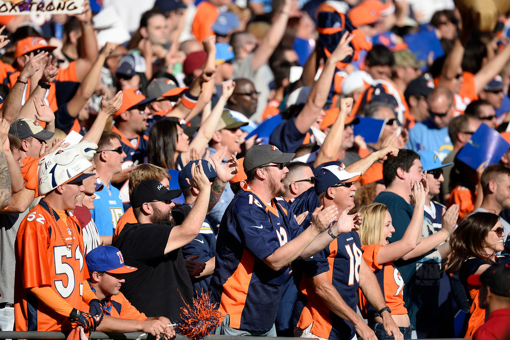 . SAN DIEGO, CA - NOVEMBER 11: Denver Broncos fans in full force in their game against the San Diego Chargers at Qualcomm Stadium. (Photo by John Leyba/The Denver Post)