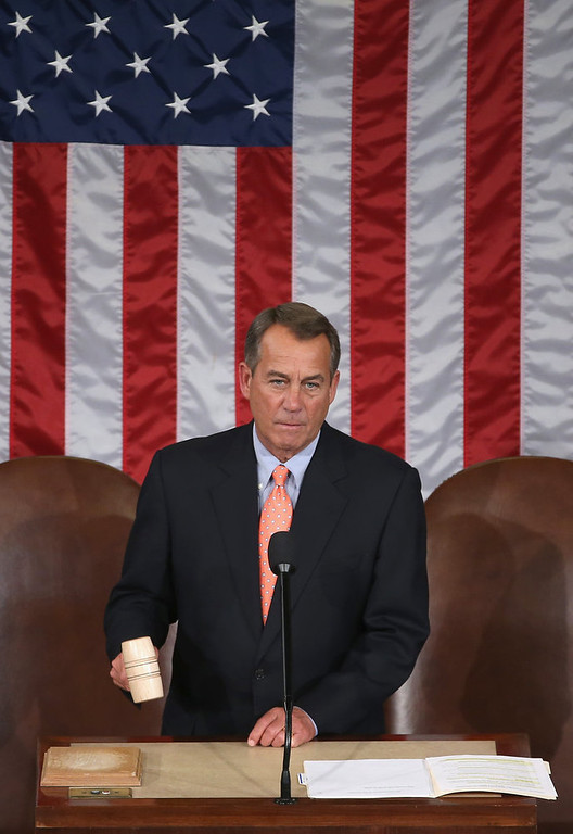 . Speaker of the House John Boehner (R-OH) gavels the House chamber to order before U.S. President Barack Obama�s State of the Union address February 12, 2013 in Washington, DC. Facing a divided Congress, Obama is expected to focus his speech on new initiatives designed to stimulate the U.S. economy. (Photo by Mark Wilson/Getty Images)