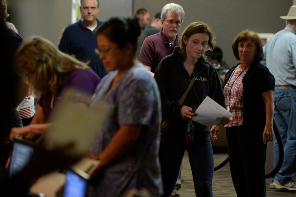 . COLORADO SPRINGS, CO. - September 10: The lunch time rush of voters getting their ballots during the recall vote for Senate President John Morse at the Centennial Building in downtown September 10, 2013 Colorado Springs, Colorado. (Photo By Joe Amon/The Denver Post)