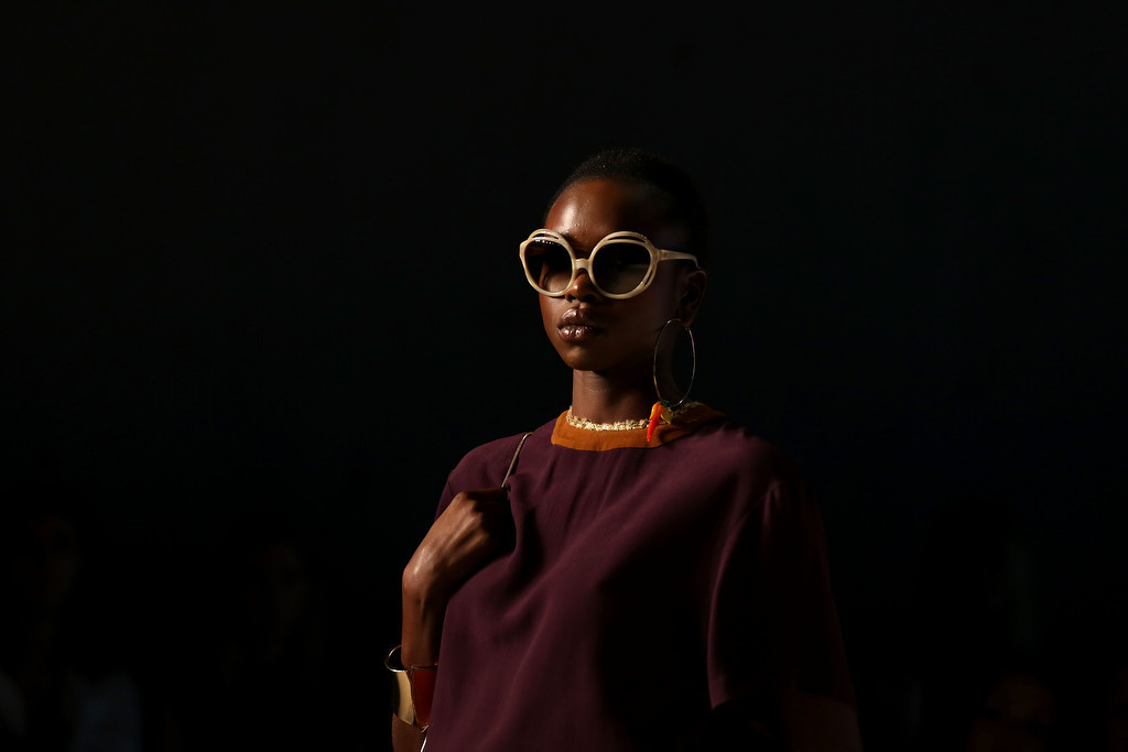 . A model walks the runway at the Jayson Brunsdon show during Mercedes-Benz Fashion Week Australia 2014 at Carriageworks on April 9, 2014 in Sydney, Australia.  (Photo by Caroline McCredie/Getty Images)