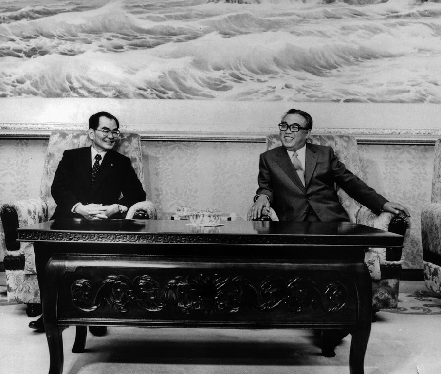 . In this September 1984 photo from North Korea\'s official Korean Central News Agency, distributed by Korea News Service, leader Kim Il Sung chats with Masashi Ishibashi (left), chairman of the Japan Socialist Party, who was visiting North Korea. (Korean Central News Agency/Korea News Service via AP Images)