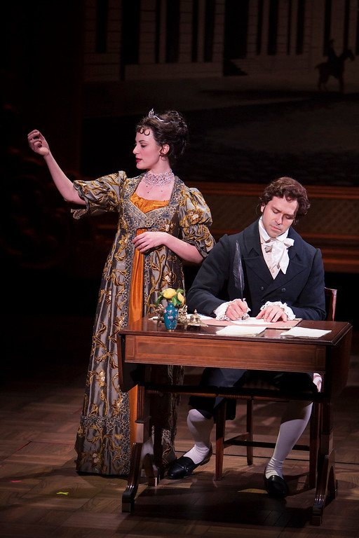 """. Trista Moldovan and Jeremiah James in the Denver Center Theatre Company\'s world premiere production of \""""Sense & Sensibility The Musical.\""""   Photo by Jennifer M. Koskinen"""