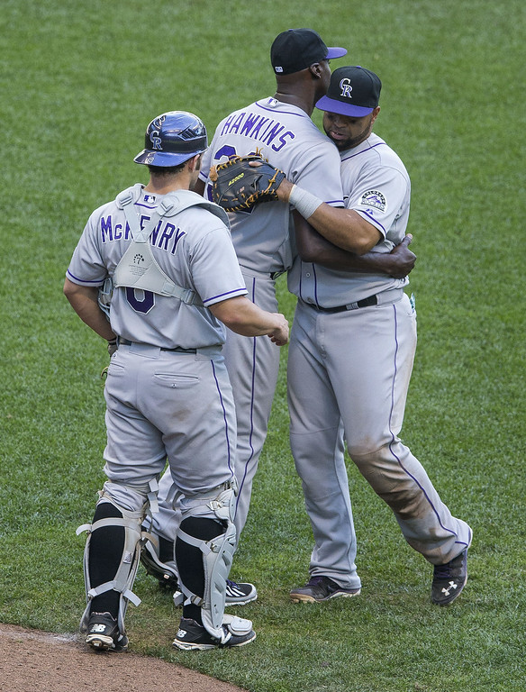 . LaTroy Hawkins #32 of the Colorado Rockies and teammates celebrate the victory over the Milwaukee Brewers at Miller Park on June 29, 2014 in Milwaukee, Wisconsin.  (Photo by Tom Lynn/Getty Images)