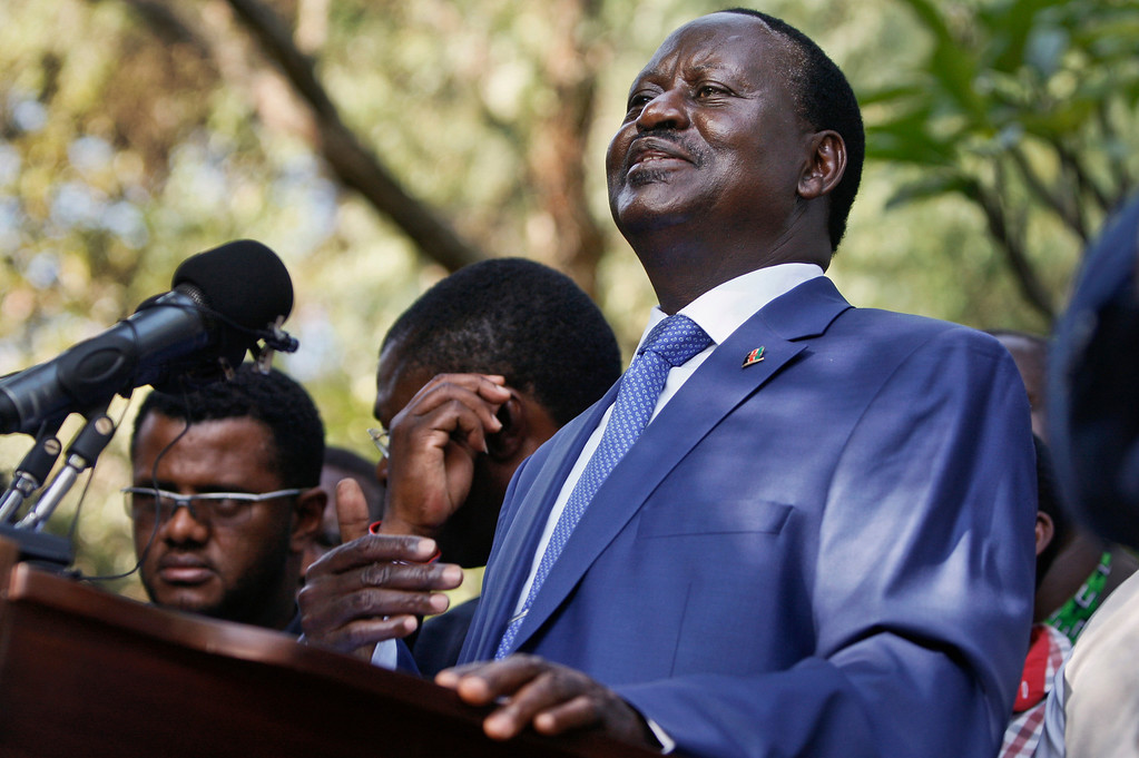 ". Kenyan presidential candidate Raila Odinga, who lost the presidential election, speaks to the media in Nairobi, Kenya Saturday, March 9, 2013. Odinga says he will not concede defeat and will contest the election result in court, saying that ""democracy is on trial\"" after the country\'s election process experienced multiple failures. (AP Photo/Sayyid Azim)"