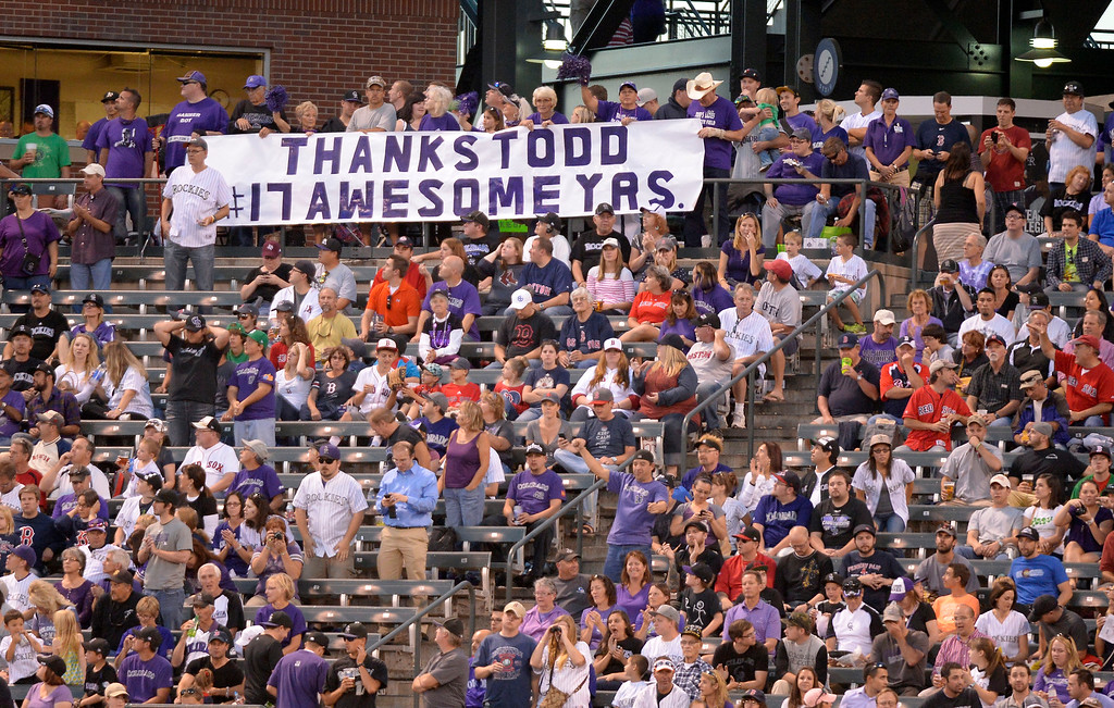 . Colorado Rockies fans thank Todd Helton with a big sign out in center field against the Boston Red Sox September 25, 2013 at Coors Field. Helton will retire at the end of the season. (Photo By John Leyba/The Denver Post)