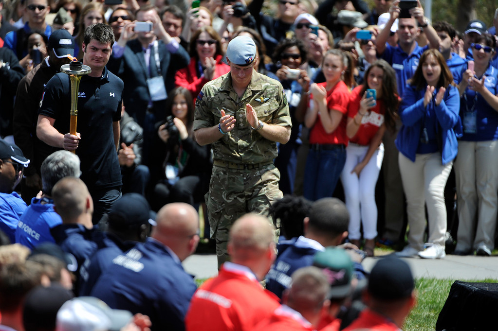 . COLORADO SPRINGS, CO - MAY 11: Britain\'s Prince Harry meets with British Armed Forces members at the United States Olympic Training Center for the 2013 Warrior Games Saturday morning, May 11th, 2013.(Photo By Andy Cross/The Denver Post)