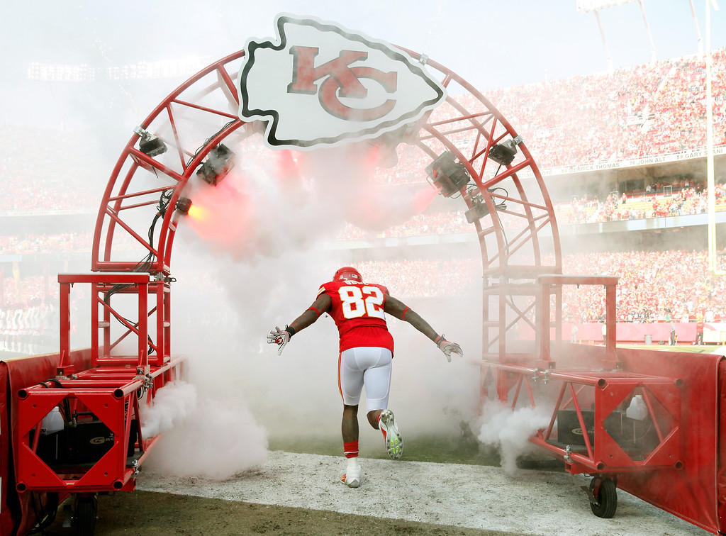 . Wide receiver Dwayne Bowe #82 of the Kansas City Chiefs is introduced prior to the game against the Houston Texans at Arrowhead Stadium on October 20, 2013 in Kansas City, Missouri.  (Photo by Jamie Squire/Getty Images)