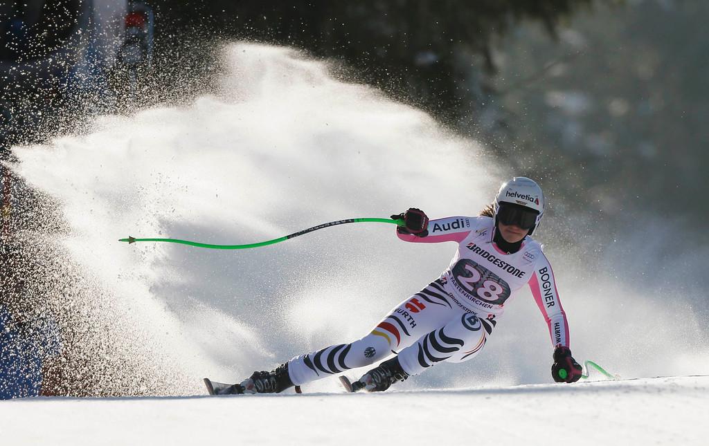 . Viktoria Rebensburg of Germany speeds down during the women\'s Alpine Skiing World Cup Downhill race in Garmisch-Partenkirchen March 2, 2013.  REUTERS/Wolfgang Rattay
