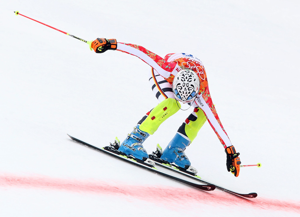 . Maria Hoefl-Riesch of Germany crosses the finish line during the Slalom portion of the Women\'s Super Combined race at the Rosa Khutor Alpine Center during the Sochi 2014 Olympic Games, Krasnaya Polyana, Russia, 10 February 2014.  EPA/ANTONIO BAT