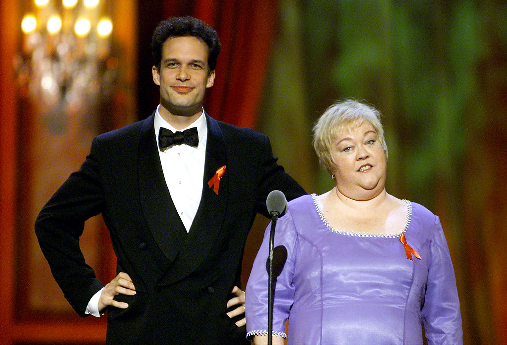 . Diedrich Bader and Kathy Kinney present at the 2001 Creative Arts Emmy Awards held at the Pasadena Civic Auditorium, Los Angeles, CA., Sept. 8, 2001.  (photo by Kevin Winter/Getty Images)