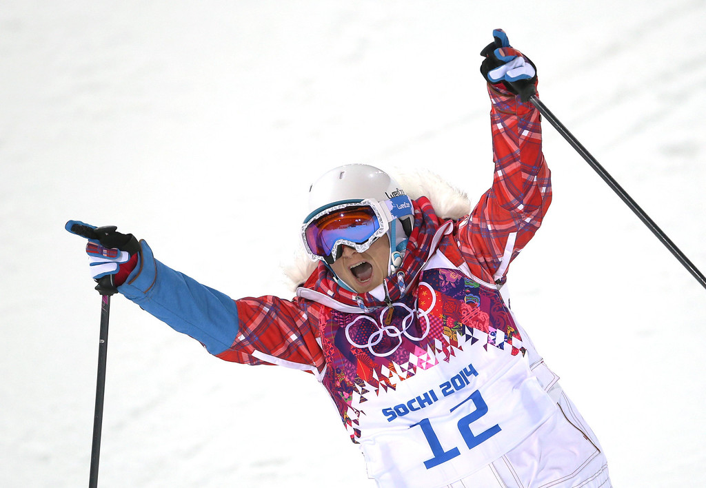 . France\'s Marie Martinod reacts after a run in the women\'s ski halfpipe final at the Rosa Khutor Extreme Park, at the 2014 Winter Olympics, Thursday, Feb. 20, 2014, in Krasnaya Polyana, Russia. (AP Photo/Sergei Grits)